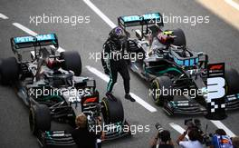 Race winner Lewis Hamilton (GBR) Mercedes AMG F1 W11 in parc ferme with team mate Valtteri Bottas (FIN) Mercedes AMG F1 W11. 16.08.2020. Formula 1 World Championship, Rd 6, Spanish Grand Prix, Barcelona, Spain, Race Day.
