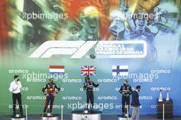 The podium (L to R): Max Verstappen (NLD) Red Bull Racing, second; Lewis Hamilton (GBR) Mercedes AMG F1, race winner; Valtteri Bottas (FIN) Mercedes AMG F1, third.