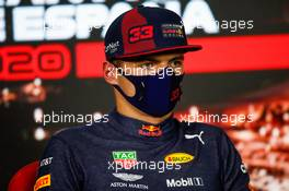 Max Verstappen (NLD) Red Bull Racing in the post race FIA Press Conference. 16.08.2020. Formula 1 World Championship, Rd 6, Spanish Grand Prix, Barcelona, Spain, Race Day.