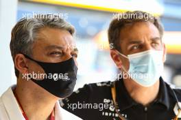 Luca de Meo (ITA) Groupe Renault Chief Executive Officer with Cyril Abiteboul (FRA) Renault Sport F1 Managing Director. 15.08.2020. Formula 1 World Championship, Rd 6, Spanish Grand Prix, Barcelona, Spain, Qualifying Day.