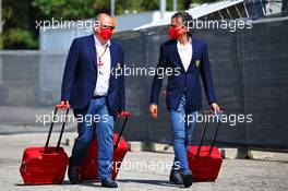 (L to R): Luca Colajanni (ITA) Ferrari Communications Officer with Laurent Mekies (FRA) Ferrari Sporting Director. 13.08.2020. Formula 1 World Championship, Rd 6, Spanish Grand Prix, Barcelona, Spain, Preparation Day.