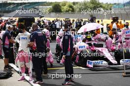 Lance Stroll (CDN) Racing Point F1 Team RP20 on the grid. 02.08.2020. Formula 1 World Championship, Rd 4, British Grand Prix, Silverstone, England, Race Day.