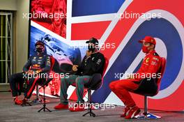 The post race FIA Press Conference (L to R): Max Verstappen (NLD) Red Bull Racing, second; Lewis Hamilton (GBR) Mercedes AMG F1, race winner; Charles Leclerc (MON) Ferrari, third. 02.08.2020. Formula 1 World Championship, Rd 4, British Grand Prix, Silverstone, England, Race Day.
