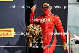 Charles Leclerc (MON) Ferrari celebrates his third position in parc ferme.                                02.08.2020. Formula 1 World Championship, Rd 4, British Grand Prix, Silverstone, England, Race Day.
