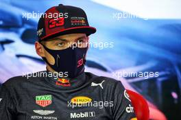 Second placed Max Verstappen (NLD) Red Bull Racing in the post race FIA Press Conference. 02.08.2020. Formula 1 World Championship, Rd 4, British Grand Prix, Silverstone, England, Race Day.