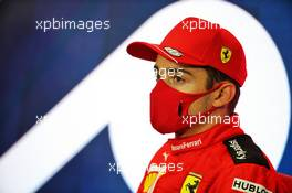 Third placed Charles Leclerc (MON) Ferrari in the post race FIA Press Conference. 02.08.2020. Formula 1 World Championship, Rd 4, British Grand Prix, Silverstone, England, Race Day.