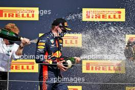 Max Verstappen (NLD) Red Bull Racing celebrates his second position on the podium.                                02.08.2020. Formula 1 World Championship, Rd 4, British Grand Prix, Silverstone, England, Race Day.