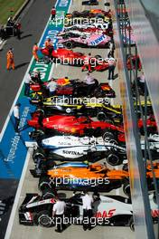 Cars in parc ferme at the end of the race. 02.08.2020. Formula 1 World Championship, Rd 4, British Grand Prix, Silverstone, England, Race Day.