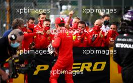 Charles Leclerc (MON) Ferrari celebrates his third position with the team in parc ferme. 02.08.2020. Formula 1 World Championship, Rd 4, British Grand Prix, Silverstone, England, Race Day.