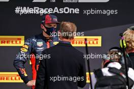 Max Verstappen (NLD) Red Bull Racing with David Coulthard (GBR) Red Bull Racing and Scuderia Toro Advisor / Channel 4 F1 Commentator in parc ferme.                                02.08.2020. Formula 1 World Championship, Rd 4, British Grand Prix, Silverstone, England, Race Day.