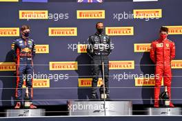 The podium (L to R): Max Verstappen (NLD) Red Bull Racing, second; Lewis Hamilton (GBR) Mercedes AMG F1, race winner; Charles Leclerc (MON) Ferrari, third.                                02.08.2020. Formula 1 World Championship, Rd 4, British Grand Prix, Silverstone, England, Race Day.