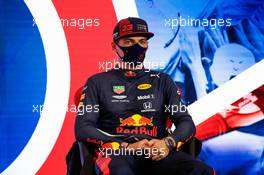 Max Verstappen (NLD) Red Bull Racing in the post qualifying FIA Press Conference. 01.08.2020. Formula 1 World Championship, Rd 4, British Grand Prix, Silverstone, England, Qualifying Day.