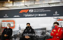The FIA Press Conference (L to R): Cyril Abiteboul (FRA) Renault Sport F1 Managing Director; Toto Wolff (GER) Mercedes AMG F1 Shareholder and Executive Director; Mattia Binotto (ITA) Ferrari Team Principal. 09.10.2020. Formula 1 World Championship, Rd 11, Eifel Grand Prix, Nurbugring, Germany, Practice Day.