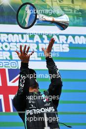 Race winner Lewis Hamilton (GBR) Mercedes AMG F1 celebrates on the podium. 11.10.2020. Formula 1 World Championship, Rd 11, Eifel Grand Prix, Nurbugring, Germany, Race Day.