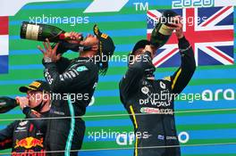 The podium (L to R): Max Verstappen (NLD) Red Bull Racing, second; Lewis Hamilton (GBR) Mercedes AMG F1, race winner; Daniel Ricciardo (AUS) Renault F1 Team, third. 11.10.2020. Formula 1 World Championship, Rd 11, Eifel Grand Prix, Nurbugring, Germany, Race Day.