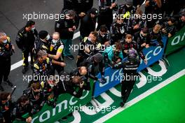 Race winner Lewis Hamilton (GBR) Mercedes AMG F1 celebrates with the team in parc ferme. 11.10.2020. Formula 1 World Championship, Rd 11, Eifel Grand Prix, Nurbugring, Germany, Race Day.
