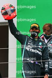 Race winner Lewis Hamilton (GBR) Mercedes AMG F1 celebrates on the podium with the helmet of Michael Schumacher. 11.10.2020. Formula 1 World Championship, Rd 11, Eifel Grand Prix, Nurbugring, Germany, Race Day.