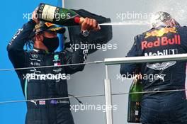 Race winner Lewis Hamilton (GBR) Mercedes AMG F1 celebrates on the podium with second placed Max Verstappen (NLD) Red Bull Racing. 11.10.2020. Formula 1 World Championship, Rd 11, Eifel Grand Prix, Nurbugring, Germany, Race Day.