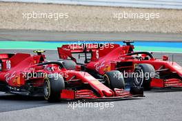 Charles Leclerc (MON) Ferrari SF1000 and team mate Sebastian Vettel (GER) Ferrari SF1000 battle for position. 11.10.2020. Formula 1 World Championship, Rd 11, Eifel Grand Prix, Nurbugring, Germany, Race Day.