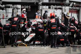 Kevin Magnussen (DEN) Haas VF-20 makes a pit stop. 11.10.2020. Formula 1 World Championship, Rd 11, Eifel Grand Prix, Nurbugring, Germany, Race Day.