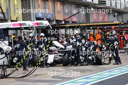 Daniil Kvyat (RUS) AlphaTauri AT01 makes a pit stop. 11.10.2020. Formula 1 World Championship, Rd 11, Eifel Grand Prix, Nurbugring, Germany, Race Day.