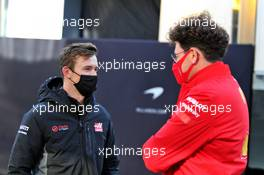 (L to R): Callum Ilott (GBR) Haas F1 Team Test Driver with Mattia Binotto (ITA) Ferrari Team Principal. 10.10.2020. Formula 1 World Championship, Rd 11, Eifel Grand Prix, Nurbugring, Germany, Qualifying Day.