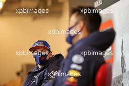 Max Verstappen (NLD) Red Bull Racing and Alexander Albon (THA) Red Bull Racing in the FIA Press Conference. 08.10.2020. Formula 1 World Championship, Rd 11, Eifel Grand Prix, Nurbugring, Germany, Preparation Day.