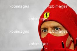 Sebastian Vettel (GER) Ferrari in the FIA Press Conference. 08.10.2020. Formula 1 World Championship, Rd 11, Eifel Grand Prix, Nurbugring, Germany, Preparation Day.