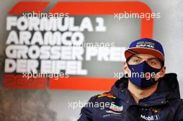 Max Verstappen (NLD) Red Bull Racing in the FIA Press Conference. 08.10.2020. Formula 1 World Championship, Rd 11, Eifel Grand Prix, Nurbugring, Germany, Preparation Day.