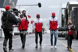 Kimi Raikkonen (FIN) Alfa Romeo Racing and Antonio Giovinazzi (ITA) Alfa Romeo Racing. 08.10.2020. Formula 1 World Championship, Rd 11, Eifel Grand Prix, Nurbugring, Germany, Preparation Day.