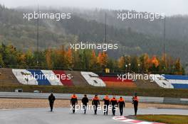 Carlos Sainz Jr (ESP) McLaren walks the circuit with the team. 08.10.2020. Formula 1 World Championship, Rd 11, Eifel Grand Prix, Nurbugring, Germany, Preparation Day.