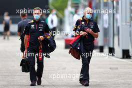 (L to R): Christian Horner (GBR) Red Bull Racing Team Principal with Adrian Newey (GBR) Red Bull Racing Chief Technical Officer. 17.07.2020. Formula 1 World Championship, Rd 3, Hungarian Grand Prix, Budapest, Hungary, Practice Day.