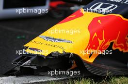 Max Verstappen (NLD) Red Bull Racing RB16 - broken nosecone on the grid. 19.07.2020. Formula 1 World Championship, Rd 3, Hungarian Grand Prix, Budapest, Hungary, Race Day.