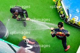 Race winner Lewis Hamilton (GBR) Mercedes AMG F1 celebrates on the podium with Max Verstappen (NLD) Red Bull Racing. 19.07.2020. Formula 1 World Championship, Rd 3, Hungarian Grand Prix, Budapest, Hungary, Race Day.