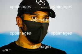 Lewis Hamilton (GBR) Mercedes AMG F1 in the post race FIA Press Conference. 19.07.2020. Formula 1 World Championship, Rd 3, Hungarian Grand Prix, Budapest, Hungary, Race Day.