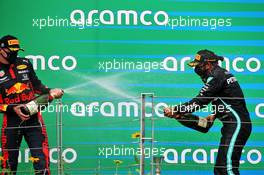(L to R): Max Verstappen (NLD) Red Bull Racing celebrates his second position with race winner Lewis Hamilton (GBR) Mercedes AMG F1. 19.07.2020. Formula 1 World Championship, Rd 3, Hungarian Grand Prix, Budapest, Hungary, Race Day.