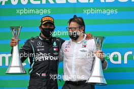 Race winner Lewis Hamilton (GBR) Mercedes AMG F1 celebrates on the podium with Peter Bonnington (GBR) Mercedes AMG F1 Race Engineer. 19.07.2020. Formula 1 World Championship, Rd 3, Hungarian Grand Prix, Budapest, Hungary, Race Day.