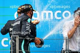 Race winner Lewis Hamilton (GBR) Mercedes AMG F1 celebrates on the podium with Valtteri Bottas (FIN) Mercedes AMG F1 and Peter Bonnington (GBR) Mercedes AMG F1 Race Engineer. 19.07.2020. Formula 1 World Championship, Rd 3, Hungarian Grand Prix, Budapest, Hungary, Race Day.