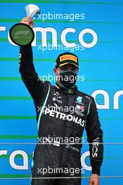Valtteri Bottas (FIN) Mercedes AMG F1 celebrates his third position on the podium. 19.07.2020. Formula 1 World Championship, Rd 3, Hungarian Grand Prix, Budapest, Hungary, Race Day.