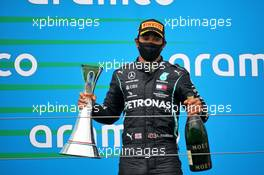 Race winner Lewis Hamilton (GBR) Mercedes AMG F1 celebrates on the podium. 19.07.2020. Formula 1 World Championship, Rd 3, Hungarian Grand Prix, Budapest, Hungary, Race Day.