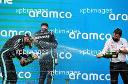 (L to R): Race winner Lewis Hamilton (GBR) Mercedes AMG F1 celebrates with third placed team mate Valtteri Bottas (FIN) Mercedes AMG F1 and Peter Bonnington (GBR) Mercedes AMG F1 Race Engineer. 19.07.2020. Formula 1 World Championship, Rd 3, Hungarian Grand Prix, Budapest, Hungary, Race Day.