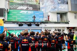 (L to R): Valtteri Bottas (FIN) Mercedes AMG F1 and Max Verstappen (NLD) Red Bull Racing (Right), who celebrates his second position on the podium in front of his team. 19.07.2020. Formula 1 World Championship, Rd 3, Hungarian Grand Prix, Budapest, Hungary, Race Day.
