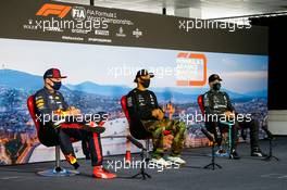 The post race FIA Press Conference (L to R): Max Verstappen (NLD) Red Bull Racing; Lewis Hamilton (GBR) Mercedes AMG F1; Valtteri Bottas (FIN) Mercedes AMG F1. 19.07.2020. Formula 1 World Championship, Rd 3, Hungarian Grand Prix, Budapest, Hungary, Race Day.