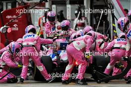 Lance Stroll (CDN) Racing Point F1 Team RP20 makes a pit stop. 19.07.2020. Formula 1 World Championship, Rd 3, Hungarian Grand Prix, Budapest, Hungary, Race Day.