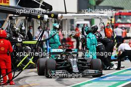 Lewis Hamilton (GBR) Mercedes AMG F1 W11 makes a pit stop. 19.07.2020. Formula 1 World Championship, Rd 3, Hungarian Grand Prix, Budapest, Hungary, Race Day.