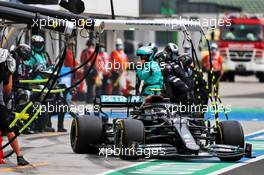 Valtteri Bottas (FIN) Mercedes AMG F1 W11 makes a pit stop. 19.07.2020. Formula 1 World Championship, Rd 3, Hungarian Grand Prix, Budapest, Hungary, Race Day.