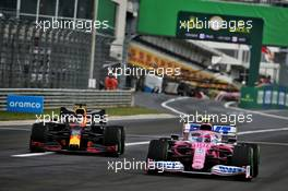 Lance Stroll (CDN) Racing Point F1 Team RP20 and Max Verstappen (NLD) Red Bull Racing RB16. 19.07.2020. Formula 1 World Championship, Rd 3, Hungarian Grand Prix, Budapest, Hungary, Race Day.