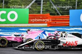 Lance Stroll (CDN) Racing Point F1 Team RP20 and Romain Grosjean (FRA) Haas F1 Team VF-20 battle for position. 19.07.2020. Formula 1 World Championship, Rd 3, Hungarian Grand Prix, Budapest, Hungary, Race Day.