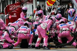 Sergio Perez (MEX) Racing Point F1 Team RP19 makes a pit stop. 19.07.2020. Formula 1 World Championship, Rd 3, Hungarian Grand Prix, Budapest, Hungary, Race Day.