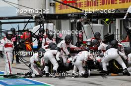 Antonio Giovinazzi (ITA) Alfa Romeo Racing C39 makes a pit stop. 19.07.2020. Formula 1 World Championship, Rd 3, Hungarian Grand Prix, Budapest, Hungary, Race Day.